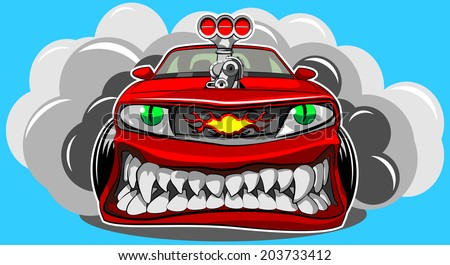 Angry car - stock vector