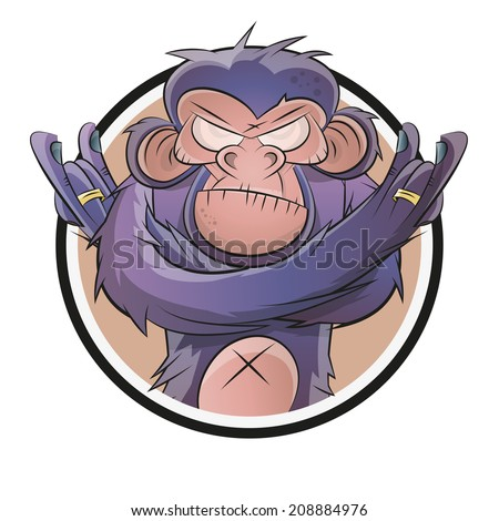 angry cartoon chimp in a badge - stock vector