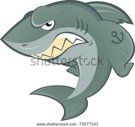 angry cartoon shark - stock vector
