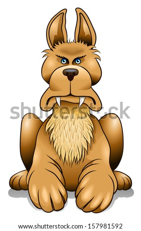 Angry cartoon watch dog keeping an eye on you - stock vector