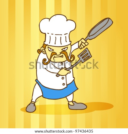 angry chef illustration - stock vector