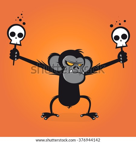 angry chimp is holding skulls on a stick - stock vector