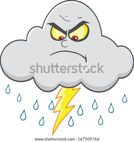 Angry Cloud With Lightning And Rain. Vector Illustration Isolated on white - stock vector