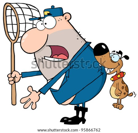 Angry Dog Biting A Dog Catcher.Vector Illustration - stock vector