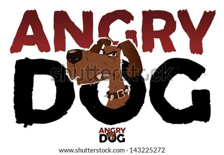 Angry dog sign - stock vector