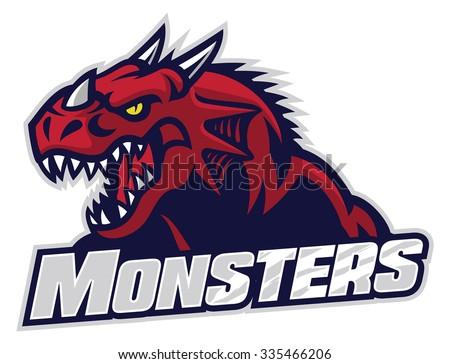 angry dragon head - stock vector