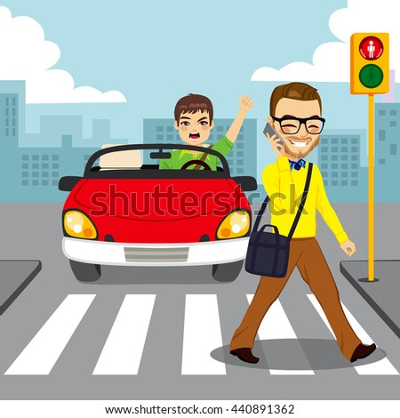 Angry driver in red convertible car yelling to distracted man with smartphone while crossing pedestrian with red traffic light - stock vector
