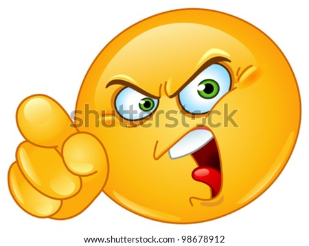 Angry emoticon pointing an accusing finger - stock vector