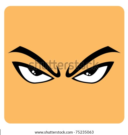 angry eyes in cartoon - stock vector