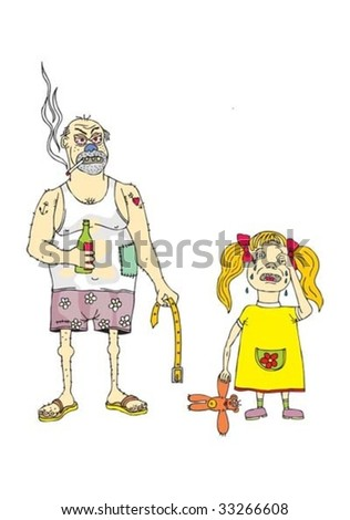 angry father and crying daughter - stock vector