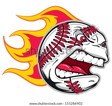 Angry flaming screaming baseball - stock vector