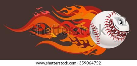 Angry flaming screaming baseball - stock vector
