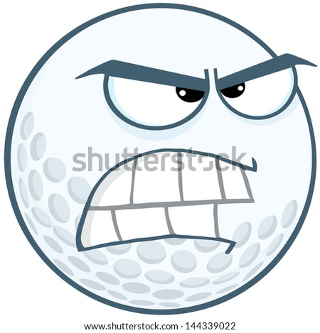 Angry Golf Ball Cartoon Mascot Character. Vector Illustration - stock vector