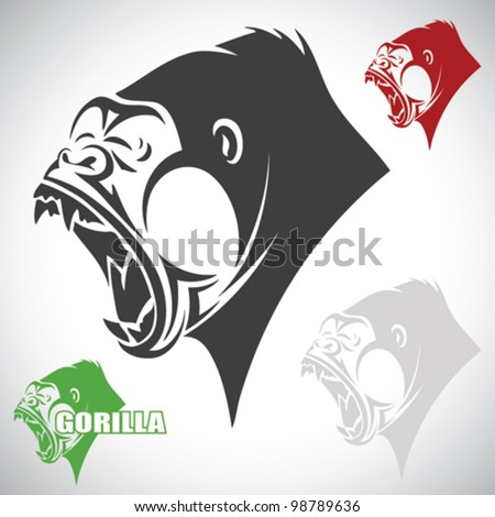 Angry gorilla - vector illustration - stock vector