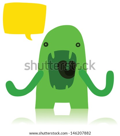 Angry Green Monster with Speech Bubble - stock vector