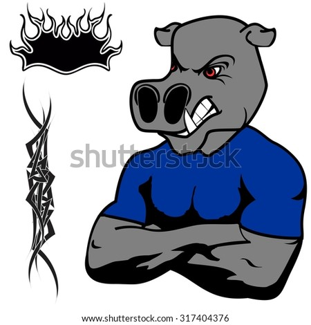angry hippo muscle cartoon set in vector fromat very easy to edit - stock vector