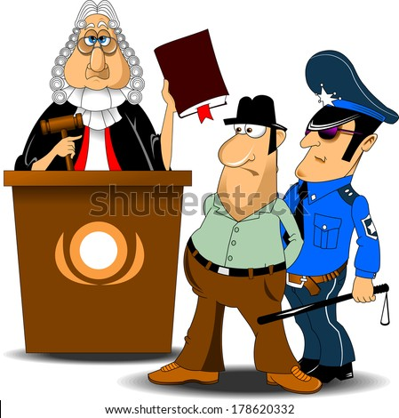 Angry judge with gavel makes verdict for law, vector - stock vector