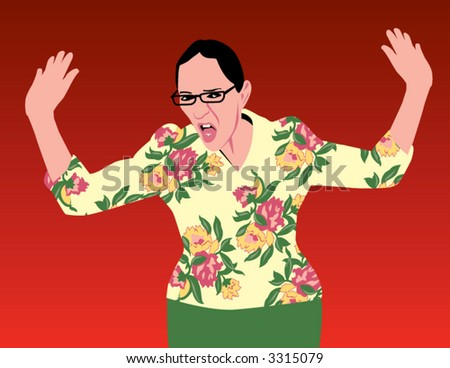 Angry lady in flowered print jacket on a red background - stock vector