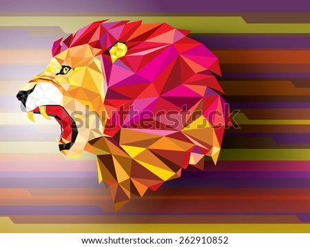 Angry lion geometric pattern on abstract background- Vector illustration - stock vector