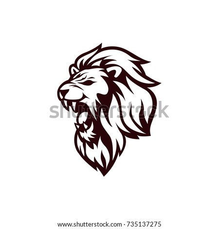 angry lion head black white logo stock vector 735137275