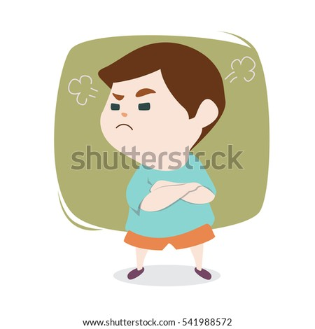 Angry little cute boy with blowing from ears, vector cartoon illustration.