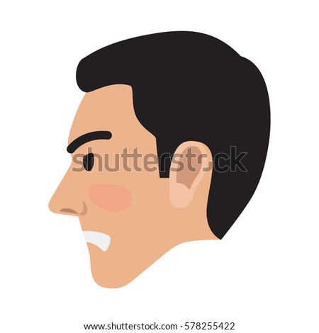 Side profile face cartoon