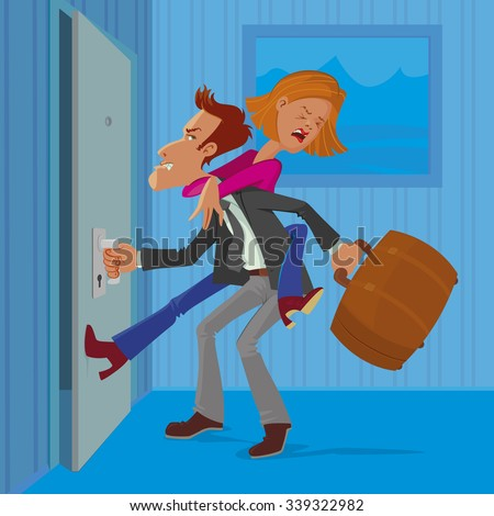 angry man leaves his wife, vector cartoon - stock vector