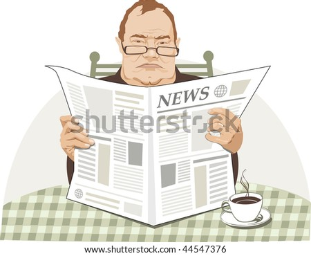 Angry man reads paper and have breakfast
