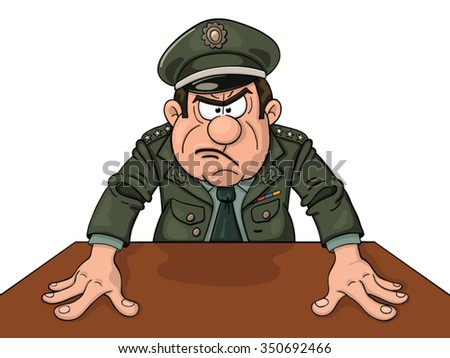 Angry military general at the table