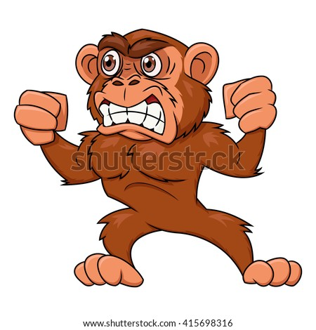 Angry monkey illustration - stock vector