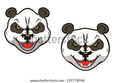 Angry panda bear head for sports mascot design. Jpeg version also available in gallery - stock vector