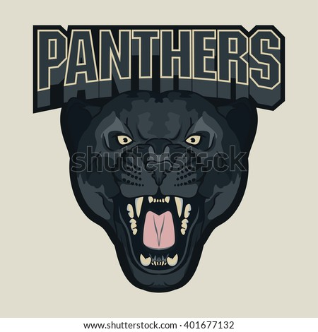 Angry Panther Sport team emblem, wild big cat head. Cute face of Black Cat. Aggressive cat with bared teeth in cartoon style, t-shirt print design - stock vector