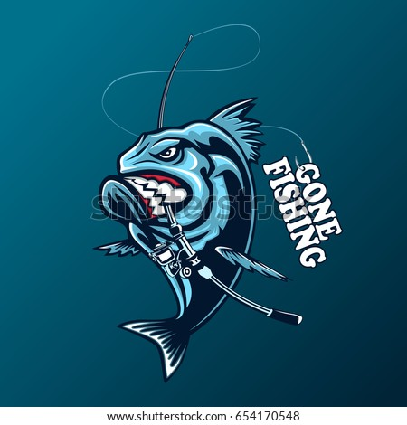 Angry piranha fishing logo vector illustration stock for Angry fish sushi