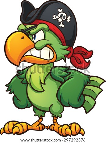 Angry pirate parrot. Vector clip art illustration with simple gradients. All in a single layer. - stock vector