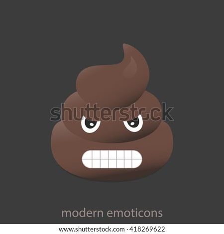 Angry poo icon. Shit emoticons. Poop emoji face isolated.  - stock vector