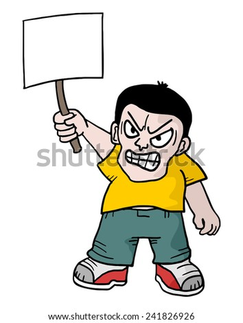 Angry protestant - stock vector