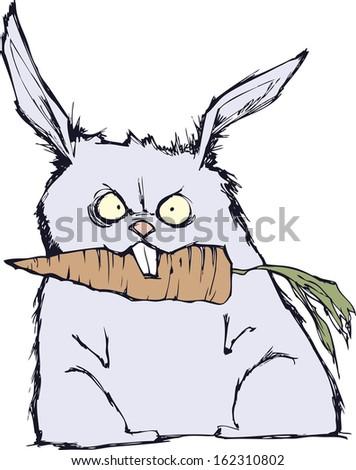 Angry rabbit - stock vector