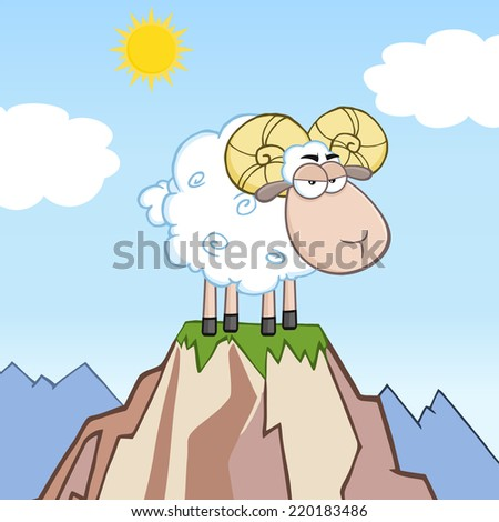 Angry Ram Sheep Cartoon Mascot Character On Top Of A Mountain - stock vector