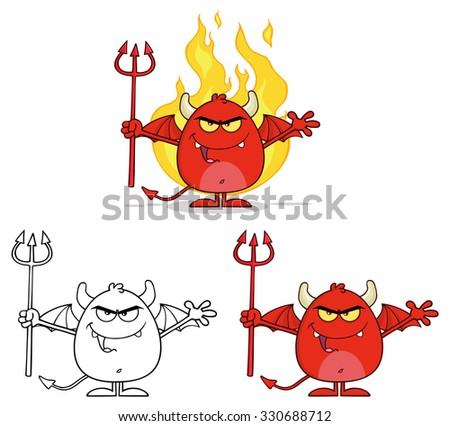 Angry Red Devil Cartoon Character Holding A Pitchfork Over Flames. Vector Collection Set - stock vector