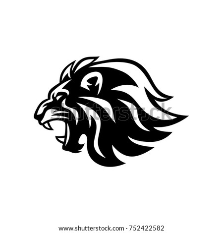 Roaring lion head black and white