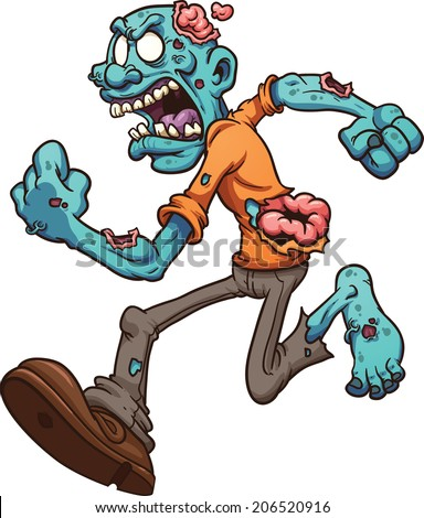Angry running zombie. Vector clip art illustration with simple gradients. All in a single layer. - stock vector