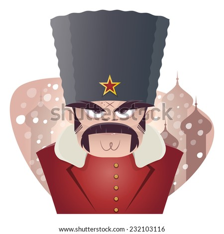 angry russian or soviet man - stock vector