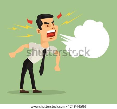 Angry screaming man. Vector flat cartoon illustration - stock vector