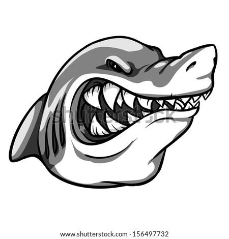 Angry Shark mascot. Monochrome version. - stock vector
