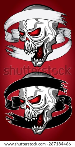 angry shouting demonic human skull wallpaper - stock vector