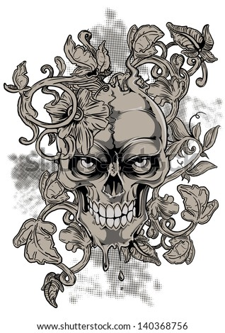 Angry skull - stock vector