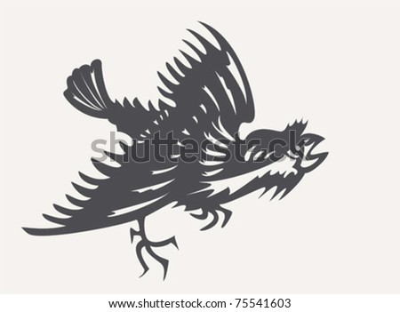 Angry sparrow.  The silhouette of an angry sparrow.