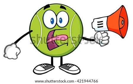 Angry Tennis Ball Cartoon Mascot Character An Announcement Into A Megaphone. Vector Illustration Isolated On White - stock vector