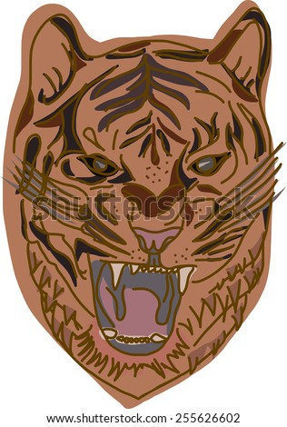 Angry Tiger - stock vector