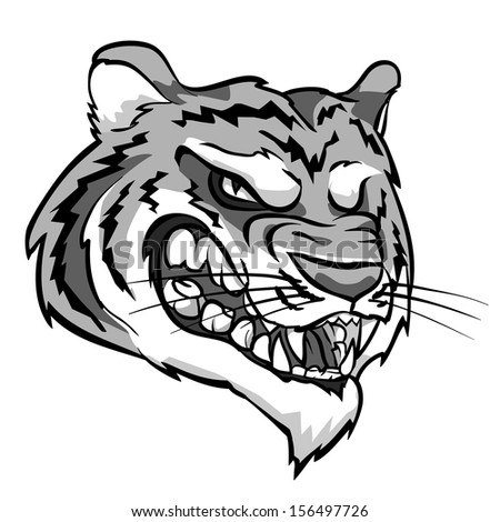 Angry Tiger mascot. Monochrome version. - stock vector